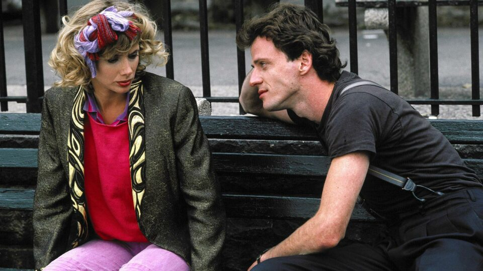 guy and girl on park bench