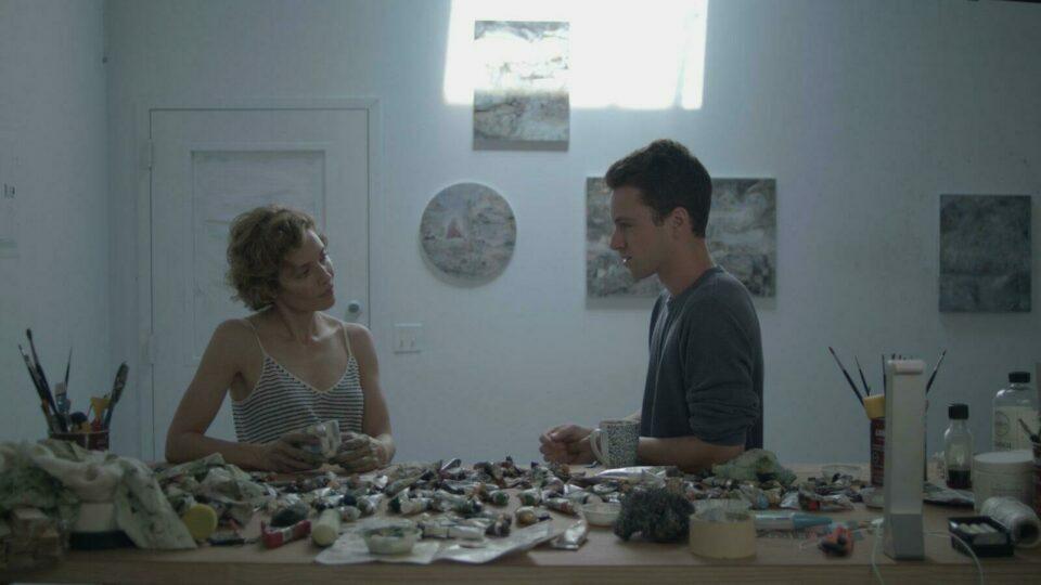 woman and boy in art studio