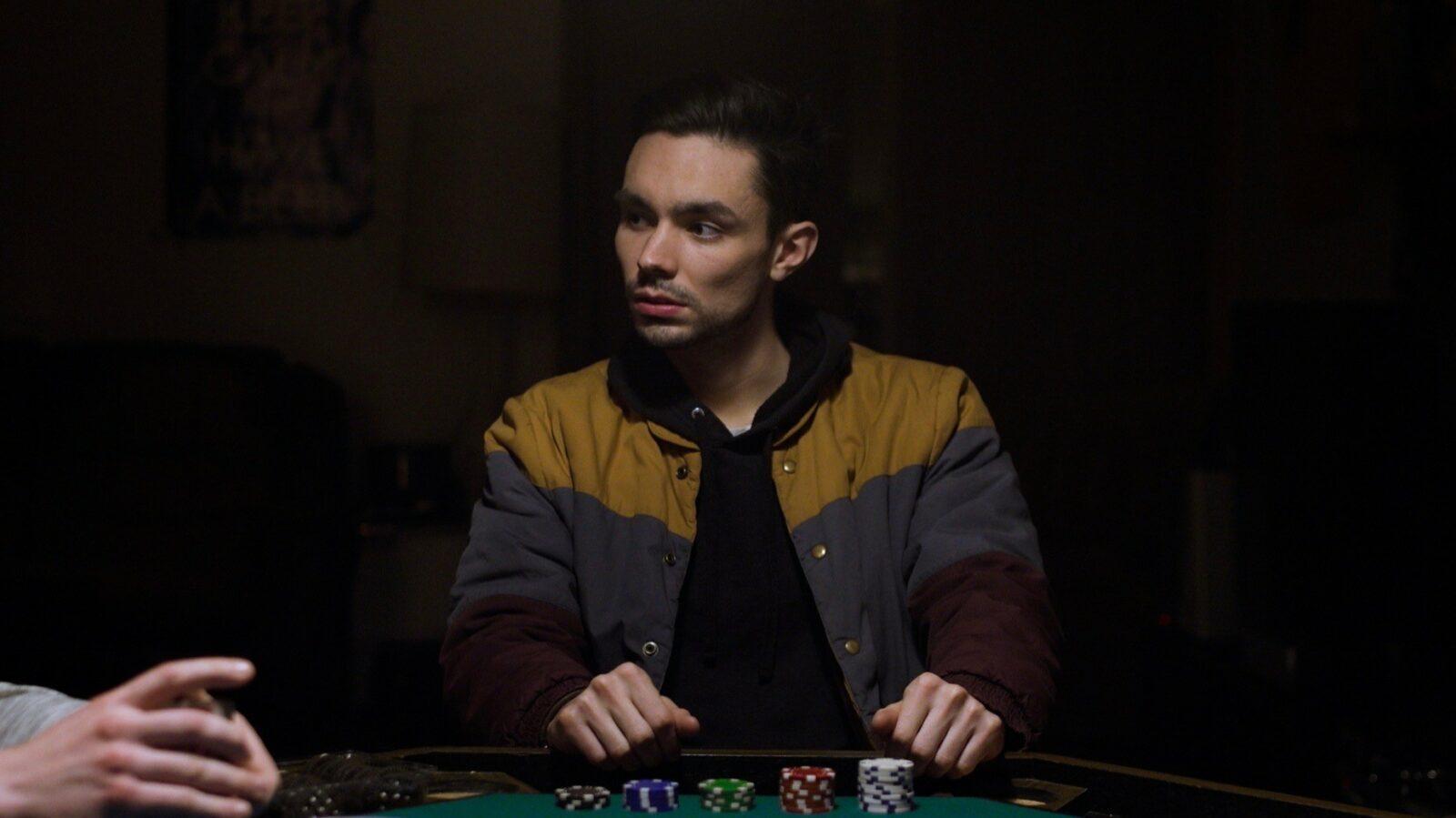 A man playing poker.