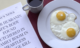 egg and coffee and newspaper